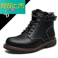 新品上市冬季男士真皮马丁靴高帮英伦复古短靴软底休闲皮靴男加绒保暖棉鞋