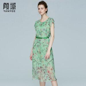 颜域品牌女装2017夏季新款品牌花瓣袖真丝连衣裙女印花桑蚕丝长裙