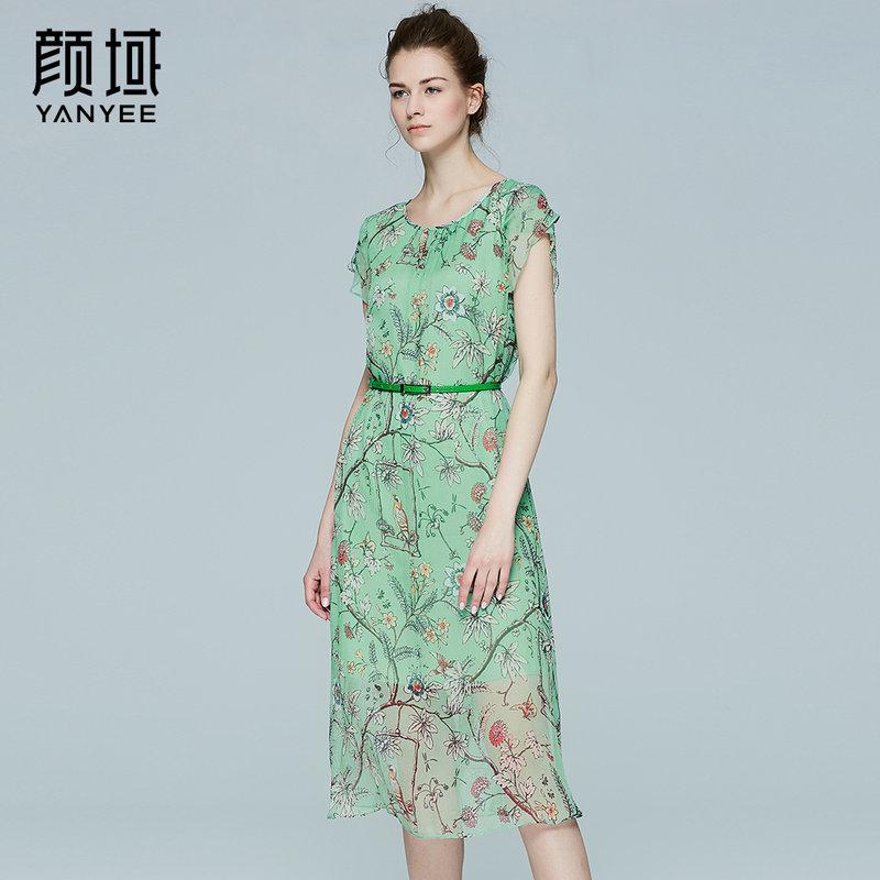 颜域品牌女装2017夏季新款品牌花瓣袖真丝连衣裙女印花桑蚕丝长裙此款赠送绿色和白色腰带