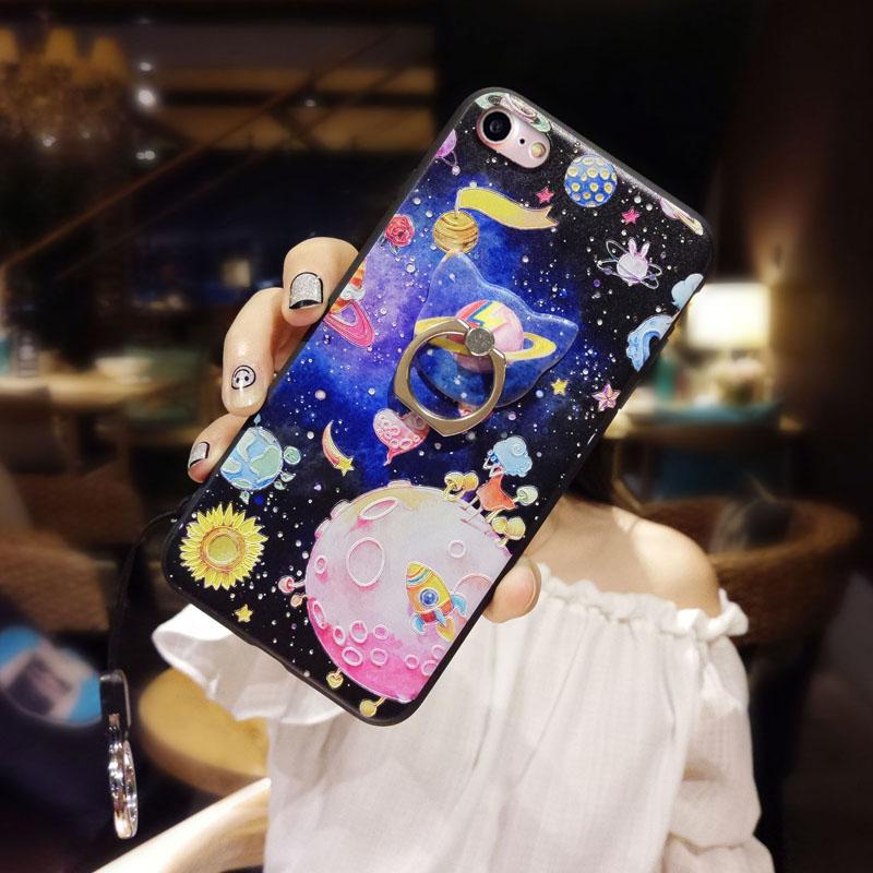 苹果6手机壳硅胶软iphone8x带挂绳指环支架6splus潮牌7plus情侣女 iphone7 梦幻太空