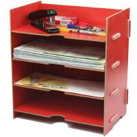 创意办公文件票据置物架桌面木质收纳架整理架收纳盒资料架