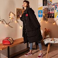 【直降价479元】唐狮羽绒服女年新款中长款韩版潮流时尚过膝加厚外套女黑色