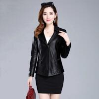 2019秋季女装韩版修身显瘦皮衣女短款妈妈装女士大码皮衣外套女 黑色 883款 XL (90-105斤)