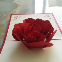 3D玫瑰花贺卡 情人节剪纸雕刻贺卡玫瑰花生日明信片 生日贺卡 红色