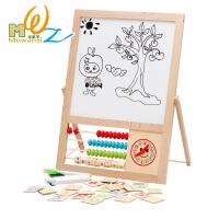 木丸子 木制磁性拼图双面写字板多功能双面画板 早教益智儿童玩具
