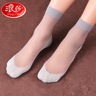 6双浪莎棉底短丝袜女防勾丝 水晶薄款肤色防滑对对袜子女士短袜夏季6双浪莎棉底防滑短丝袜防勾丝薄款短袜