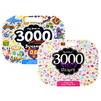 3000 Sticker Pad Collection 3000张系列贴纸书2册套装 仙子 公主主题 机器人 恐龙火箭