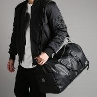 男士旅行包手提包防水运动包圆筒训练健身包大容量行李袋单肩包包 黑色大号 中