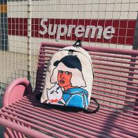 个性嘻哈涂鸦撞色双肩包女韩版ins超火书包校园高中生休闲背包潮