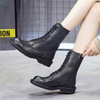 靴子女2019秋款韩版秋冬马丁靴粗跟低跟马丁靴女英伦风时尚短靴女 黑色
