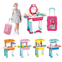 儿童玩具 女孩过家家厨房玩具大号拉杆旅行箱仿真美妆工具匠 满月周岁生日礼物六一圣诞节新年礼品