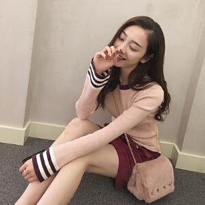 谜秀毛衣女套头2017秋冬装新款韩版修身条纹针织衫喇叭袖打底衫潮