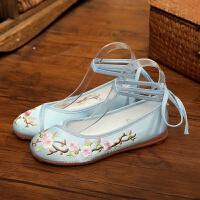 绣花鞋女布鞋配旗袍古装鞋单鞋中国风平底汉服老北京绣花布鞋表演