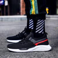运动鞋 2019新款春夏季男士跑步鞋网面休闲旅游鞋子 99黑色