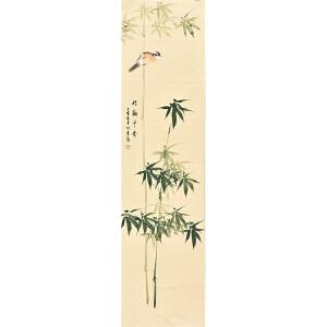 河南美术家协会会员许鲁四尺对裁花鸟画gh04944