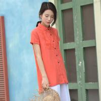 夏季原创女装短袖棉麻衬衫中国民族风刺绣宽松中长款文艺复古上衣GH085 桔红色 桔色短袖