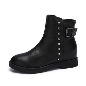 camel/骆驼女鞋2017秋冬新款个性铆钉街拍方扣低跟短筒靴舒适女靴潮