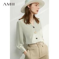 【5.18,抢购价133】Amii洋气时尚V领雪纺衫衬衣2021春新款小衫气质长袖女士衬衫上衣\预售5月23日发货