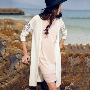 裂帛女装2018夏装新款V领刺绣无扣开衫百搭长袖子薄针织衫