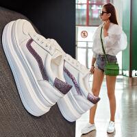 2019夏季流行女鞋 小白鞋女厚底松糕系带运动女板鞋网红明星同款