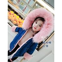 儿童牛仔外套秋冬女宝宝毛领连帽洋气上衣中小童棉衣