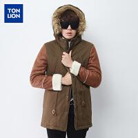 (2件5折价113.4元)唐狮冬装新款男士棉衣韩版连帽拼接麂皮棉质中长款外套潮