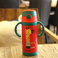 【当当自营】铂盛儿童保温杯304不锈钢卡通 350ml防摔吸管杯带手柄-长颈鹿