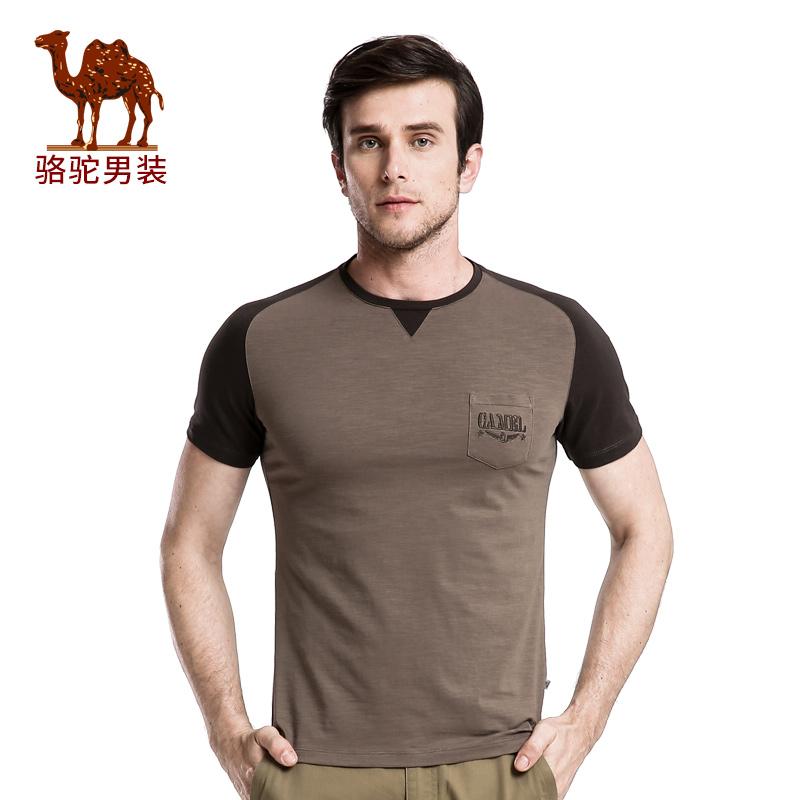 骆驼男装 夏装新款时尚青年圆领青春流行短袖T恤衫男上衣