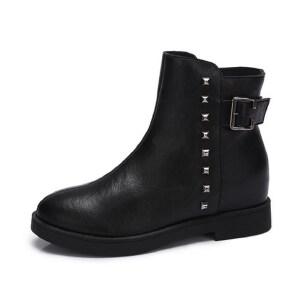 camel 骆驼女鞋  秋冬新款 个性铆钉方扣低跟短靴 舒适短靴子