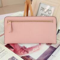 女生钱包长款新款简约女士拉链包薄款软皮长款钱包韩版女式手包手机包卡包 浅粉色