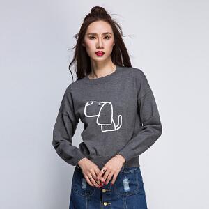 2017新品短款上衣长袖小狗狗圆领蝙蝠衫女士毛衣针织衫