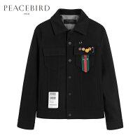 【超值价:259元,3.29日0点开抢】太平鸟男装 冬季新款个性胸章夹克外套男B1BC74316