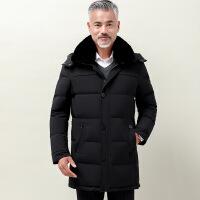 中老年羽绒服男中长款毛领新款加肥加大码中年人爸爸冬装加厚外套