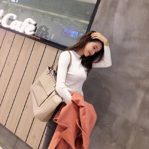 针织衫长袖女2017秋装新款半高领打底衫套头修身上衣女装秋季毛衣