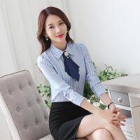 长袖衬衫女秋冬装韩版百搭女士修身气质职业装前台工装条纹衬衣女