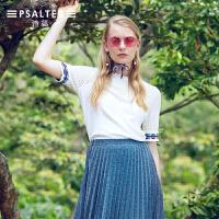 诗篇女装2018夏季新款通勤镂空透气修身针织衫
