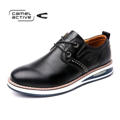 Camel Active/骆驼动感真皮休闲男鞋软底皮鞋英伦风黑色潮流单鞋