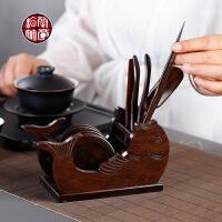 黑檀木功夫茶具零配件茶道六君子茶夹茶铲实木茶针茶匙勺子整套装
