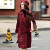 冬装新款韩版小香风格子毛呢大衣修身显瘦千鸟格风女外套
