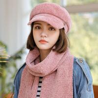 帽子女秋冬天韩版潮雪尼儿百搭加厚保暖针织围巾两件套毛线帽女