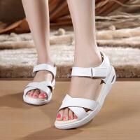 吧佰布新款头层牛皮夏季护士鞋女坡跟凉鞋妈妈鞋真皮工作鞋白色医院工作鞋子HP-157 白色
