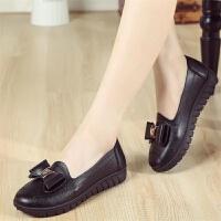 妈妈鞋单鞋休闲女夏软皮平底鞋中老年皮鞋软底中年女士工作鞋