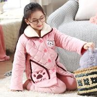 儿童睡衣女童冬季珊瑚绒夹棉中大童家居服小孩套装