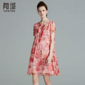 颜域品牌女装2017夏季新款时尚宽松A型圆领褶皱真丝印花连衣裙女