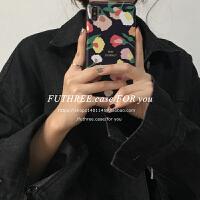 |欧美小众风黑色花卉全包iPhoneXSMax手机壳软R苹果6p7p8p i6/6s 通用