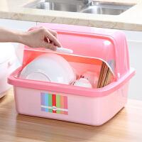 御目 收纳盒 厨房碗柜塑料带盖箱餐具沥水架厨房置物架收纳盒碗筷收纳盒放碗架碗碟架盘子 创意家具