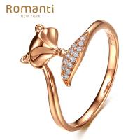 罗曼蒂18K玫瑰金钻戒女文艺小清新时尚钻石戒指需定制