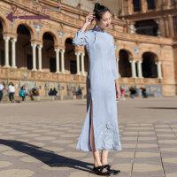 生活在左2019春款新品蓝色贴布绣工艺长袖改良旗袍女中国风旗袍裙
