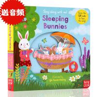 进口英文原版sing along with me Sleeping Bunnies 童谣机关玩具操作书 幼儿启蒙趣味纸