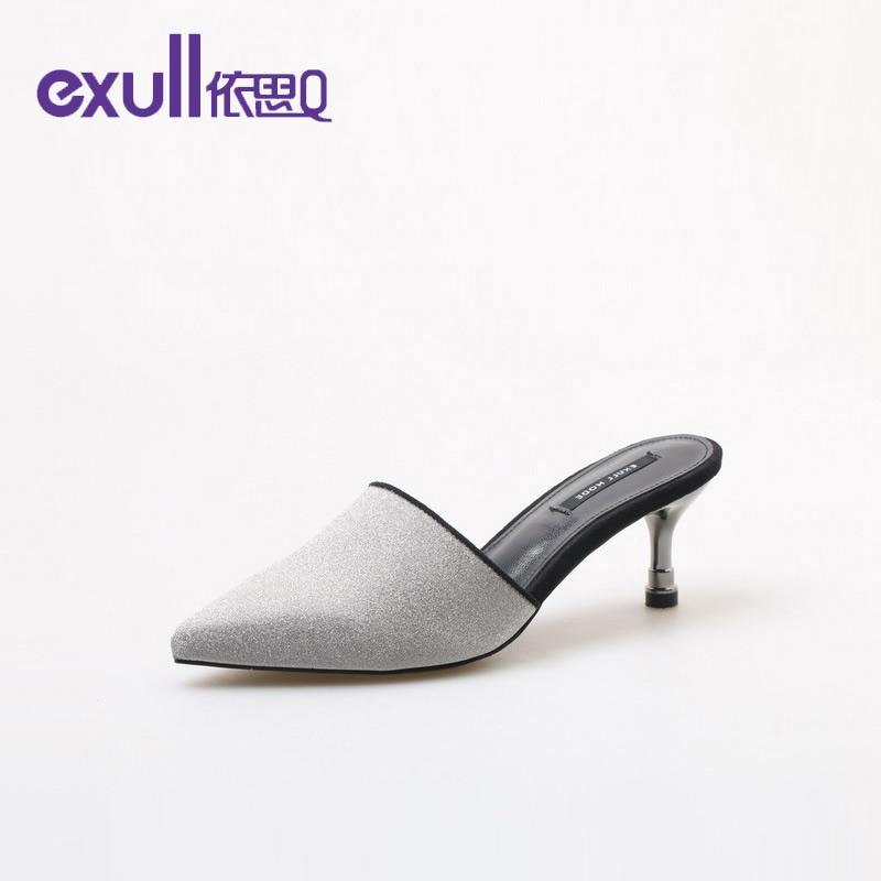 【 领券下单立减150】依思q2019新款女时尚休闲舒适亮片布尖头细跟潮流女拖鞋18165079-